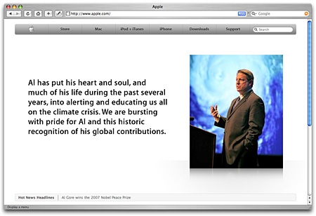 Al Gore featured on the Apple home page
