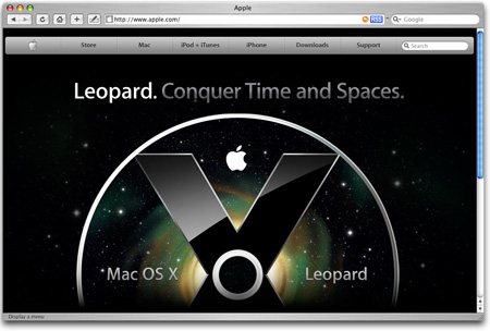Screenshot of the Apple website - Leopard preview