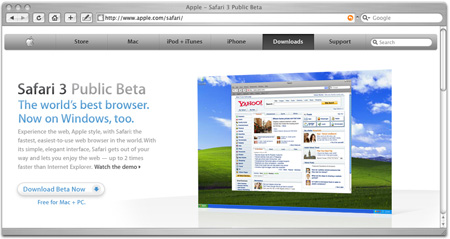 Screenshot of the Apple website - Safari section