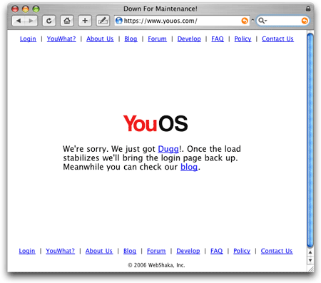 YouOS.com experiencing the Digg effect.