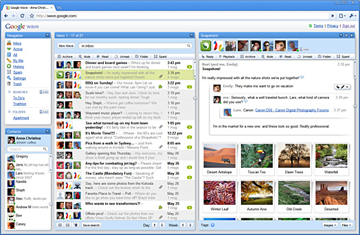 Screenshot of the Google Wave inbox in Google Chrome