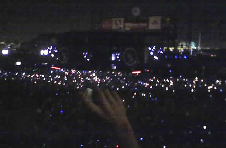 "Glow of cell phones and lighters during the song ""Wake Me Up When September Comes"""