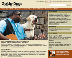Screenshot of GuideDogs.com home page