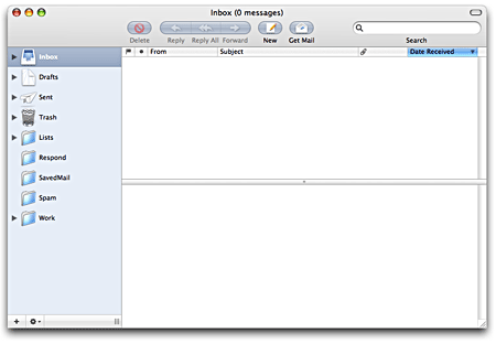 Screenshot of my empty email inbox
