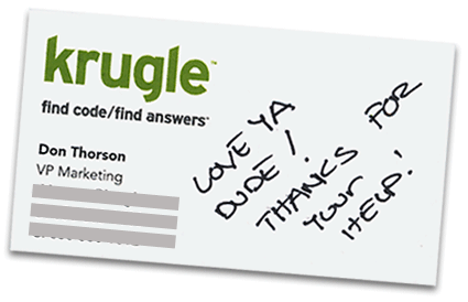 Krugle business card - thanks from Don Thorson, VP Marketing