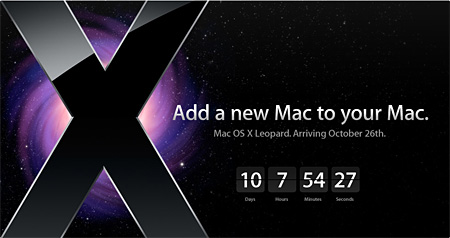 Screenshot of Apple home page showing OS X Leopard