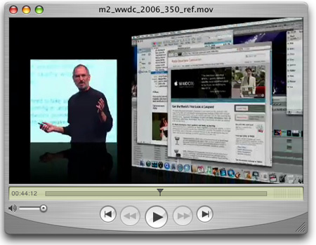 Quicktime screenshot - Steve Jobs' WWDC 2006 Keynote Presentation