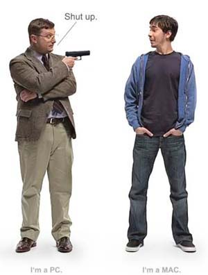 Mac / PC spoof. PC guy pointing gun at Mac guy, saying shut up.