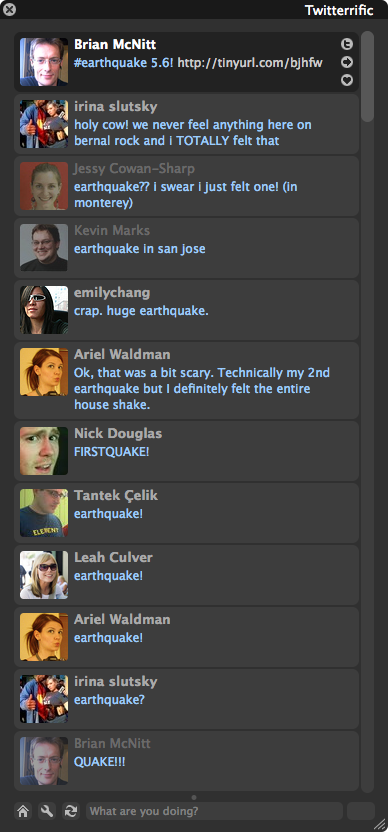 Screenshot of Twitterrific - everyone Twittering the 5.6 earthquake near SF