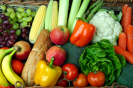 Photo of fruits, vegetables, and bread