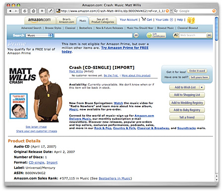 Matt Willis on Amazon